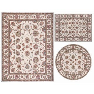 Nourison Persian Floral Collection Ivory Rug 3pc Set 3'11 x 5'3, 5'3 x 5'3 Round, 7'10 x 10'6