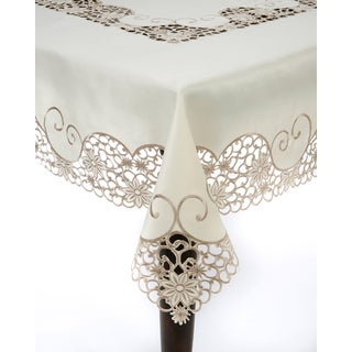 Embroidery and Cutwork 108x65-inch Tablecloth
