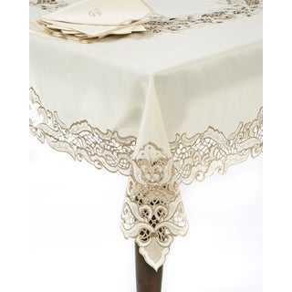 13-piece Embroidery and Cutwork Tablecloth and Napkin Set