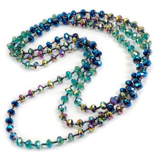 Sweet Romance Long Iridescent Glass Beaded Necklace