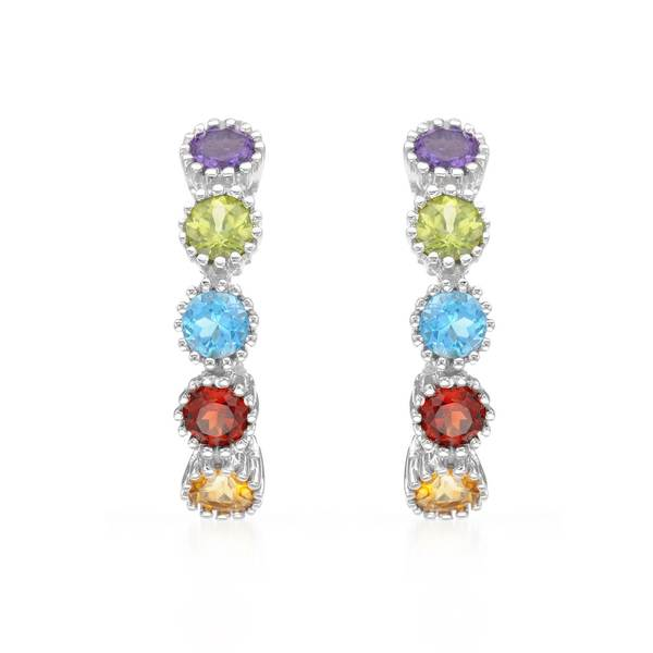 10k White Gold Multi Semi-Precious Stone Hoop Earrings
