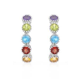 10k White Gold Multi Semi-Precious Stone Hoop Earrings