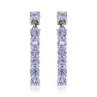 14k White Gold Tanzanite Dangle Earrings