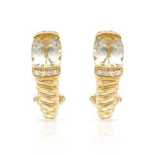 14k Yellow Gold Lemon Quartz and Diamond Accent Earrings