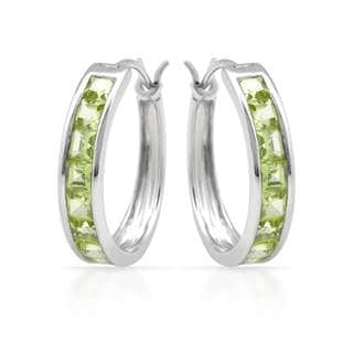 14k White Gold 1/10ct TGW Peridot Earrings