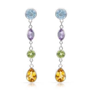 14k White Gold Bezel-set Multi-gemstone Earrings