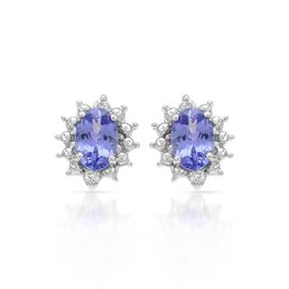 14k White Gold Tanzanite Diamond Accent Earrings