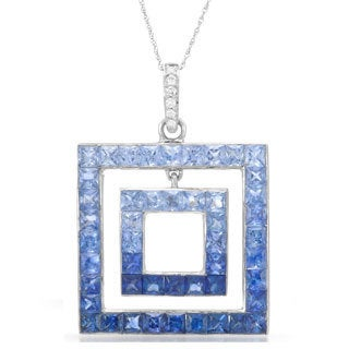 14k White Gold Sapphire and Diamond Accent Pendant
