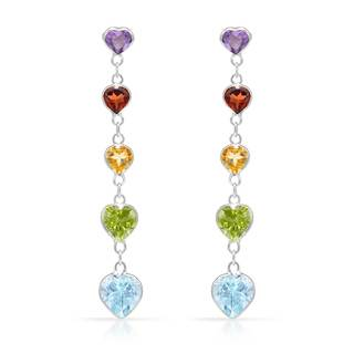 14k White Gold Heart-cut Multi-gemstone Earrings
