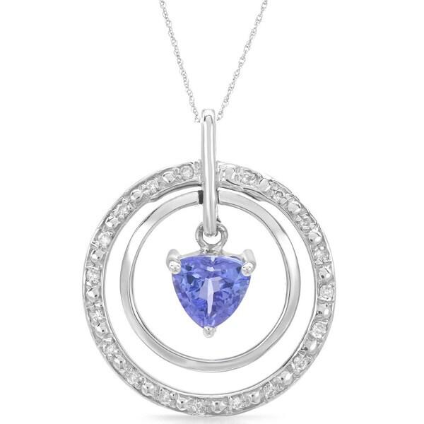 14k White Gold Tanzanite and Diamond Accent Pendant Necklace