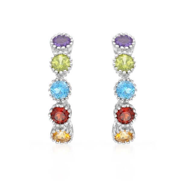 14k White Gold Multi-gemstone Hoop Earrings