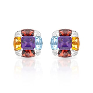 14k White Gold Multi Semi-precious Gemstone and White Diamond Accents Earrings