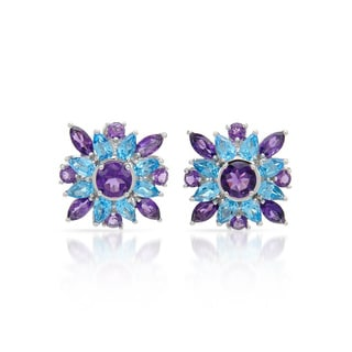14k White Gold Amethyst and Blue Topaz Earrings