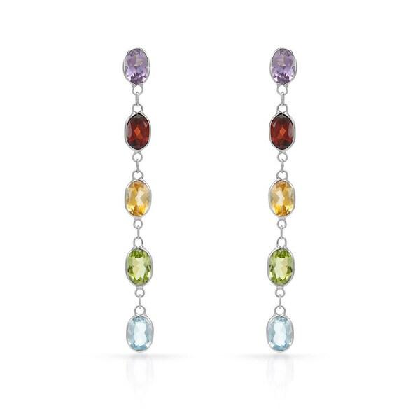 14k Yellow Gold Multi Semi-precious Gemstone Earrings