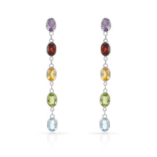 14k Yellow Gold Multi Semi-precious Gemstone Earrings