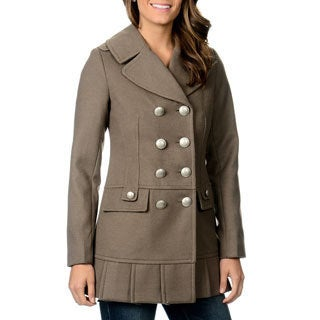 Kensie Women's Double Breasted Pleated Hemline Coat