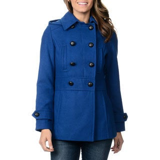 Kensie Women's Hooded Double Breasted Coat