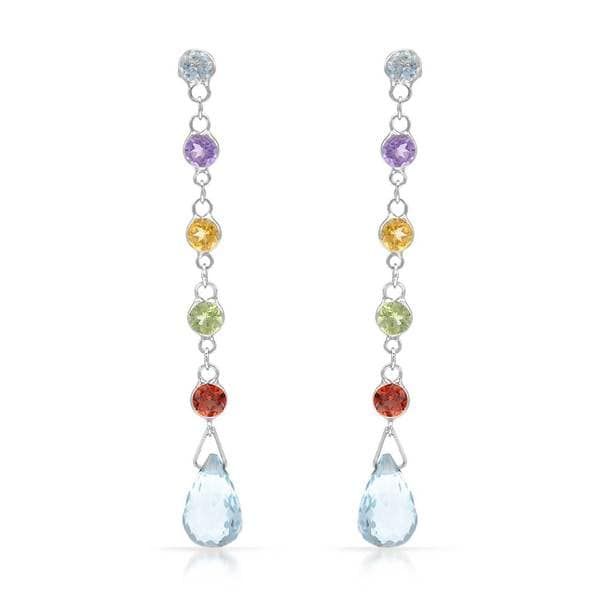 14k White Gold Blue Topaz and Multi Gemstone Dangle Earrings