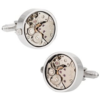 Cuff Daddy Working Silver Watch Movement Steam Punk Cufflinks