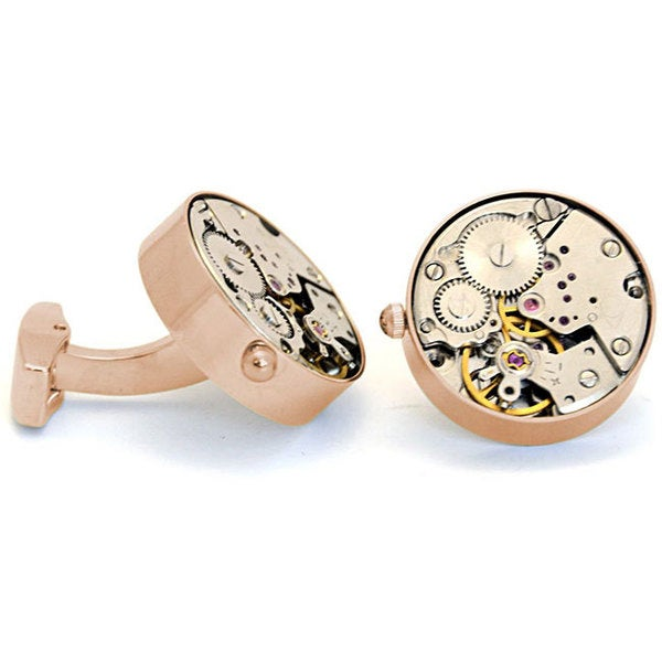 Cuff Daddy Working Gold Watch Movement Steam Punk Cuff Links