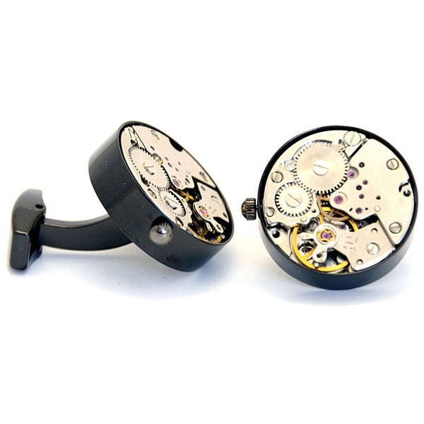 Cuff Daddy Working Black Watch Movement Steam Punk Cuff Links
