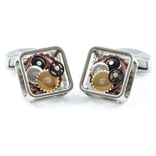 Cuff-Daddy Silver Gears Steampunk Cuff Links
