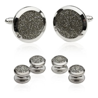 Cuff-Daddy Silver Diamond Dust Tuxedo Stud Cuff Links