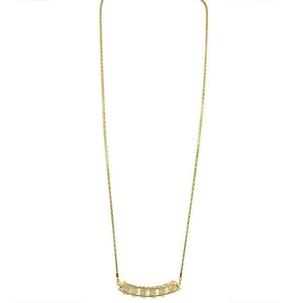 Kate Marie 'Karina' Beaded Box Pendant Goldtone Chain Necklace