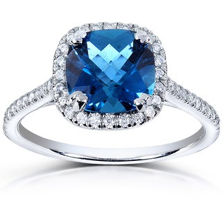 Annello 10k White Gold London Blue Topaz and 1/4ct TDW Diamond Halo Ring (H-I, I1-I2)