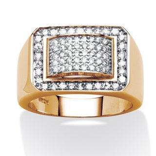 PalmBeach 1.05 TCW Men's Cubic Zirconia Geometric Ring in 18k Gold over Sterling Silver