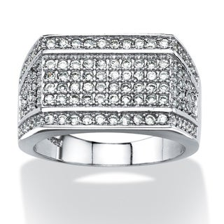 PalmBeach Men's 1.65 TCW Cubic Zirconia Geometric Row Ring in Platinum over Sterling Silver