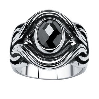 PalmBeach Men's 1.86 TCW Black Oval-Cut Cubic Zirconia Twisted Ring in Antiqued Stainless Steel Sizes 9-16