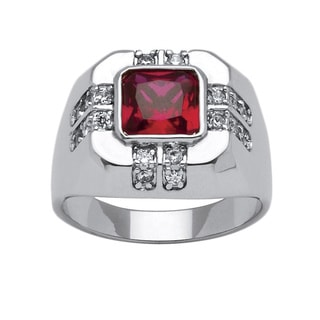 Neno Buscotti Men's 2.12ct TCW Red Cubic Zirconia Ring