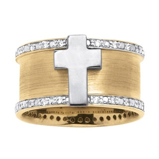 Neno Buscotti Men's Cubic Zirconia Cross Ring