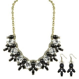 Kate Marie Black and Silver Chandelier Fashion Necklace and Earring Set