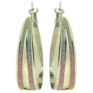 Kate Marie 'Alena' Ombre Sparkle Panel Silvertone Hoop Earrings