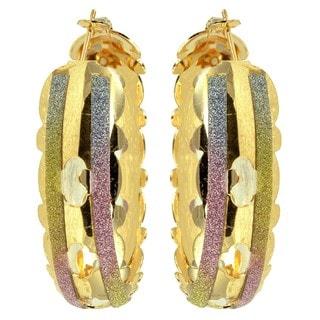Kate Marie 'Amber' Sparkle Stripes Goldtone Cut-out Hoop Earrings