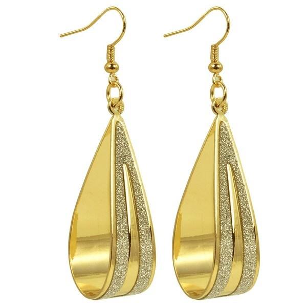 Kate Marie 'Amy' Goldtone Sparkle Panel Dangling Hoop Earrings