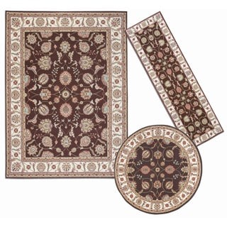 Nourison Persian Floral Collection Brown Rug 3pc Set 2'2 x 7'3, 5'3 x 5'3 Round, 7'10 x 10'6