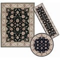 Nourison Persian Floral Collection Black Rug 3pc Set 2'2 x 7'3, 5'3 x 5'3 Round, 7'10 x 10'6
