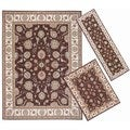 Nourison Persian Floral Collection Brown Rug 3pc Set 2'2 x 7'3, 3'11 x 5'3, 7'10 x 10'6