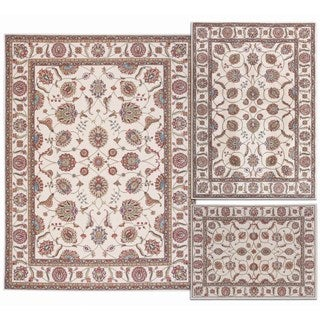 Nourison Persian Floral Collection Ivory Rug 3pc Set 3'11 x 5'3, 5'3 x 7'3, 7'10 x 10'6