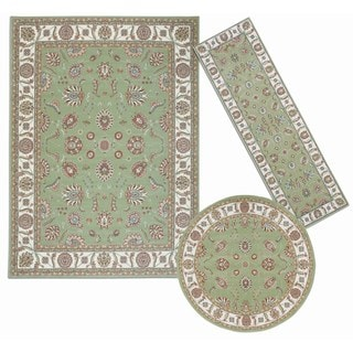Nourison Persian Floral Collection Green Rug 3pc Set 2'2 x 7'3, 5'3 x 5'3 Round, 7'10 x 10'6