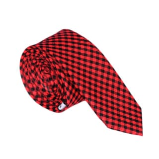 Skinny Tie Madness Men's Red-and-Black Plaid Skinny Tie
