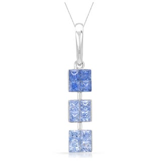 14k White Gold Sapphire Graduated Pendant Necklace