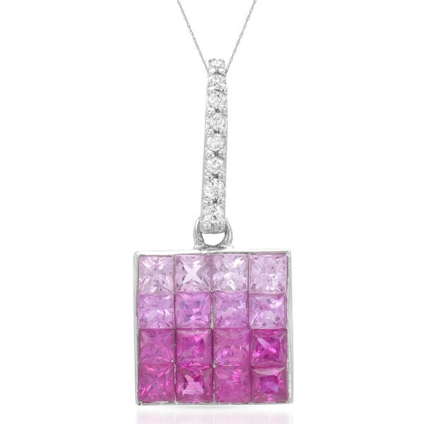 14k White Gold Pink Sapphire Diamond Accent Pendant Necklace