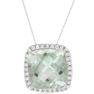 14k White Gold Green Amethyst Diamond Accent Pendant Necklace