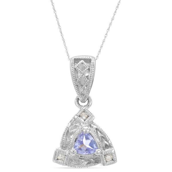 14k White Gold Tanzanite Diamond Accent Rope-chain Pendant Necklace