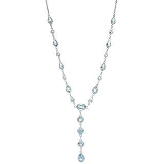 14k White Gold Blue Topaz Necklace