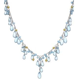 14k White Gold Briolette Blue Topaz Necklace